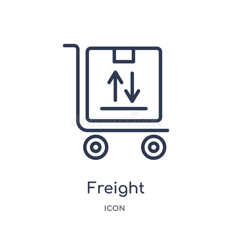 Linear freight icon from Delivery and logistic outline collection. Thin line freight vector isolated on white background. freight vector illustration