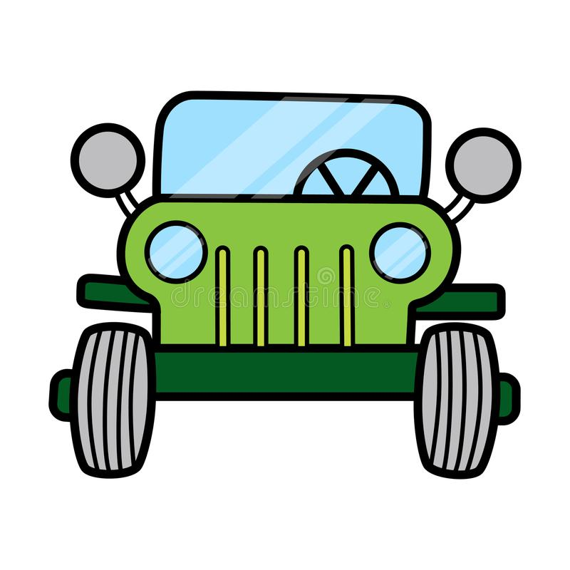 Linear front view of a car separated on white space. This is linear front view of a car separated on white space ready to work. Simple and easy for display on royalty free illustration