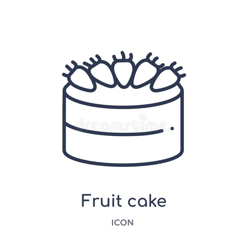 Linear fruit cake icon from Food outline collection. Thin line fruit cake icon isolated on white background. fruit cake trendy. Illustration royalty free illustration