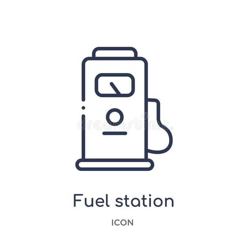 Linear fuel station icon from Industry outline collection. Thin line fuel station icon isolated on white background. fuel station vector illustration