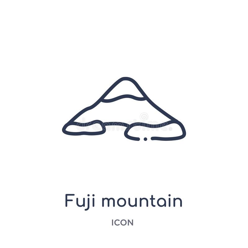 Linear fuji mountain icon from Buildings outline collection. Thin line fuji mountain vector isolated on white background. fuji. Mountain trendy illustration vector illustration