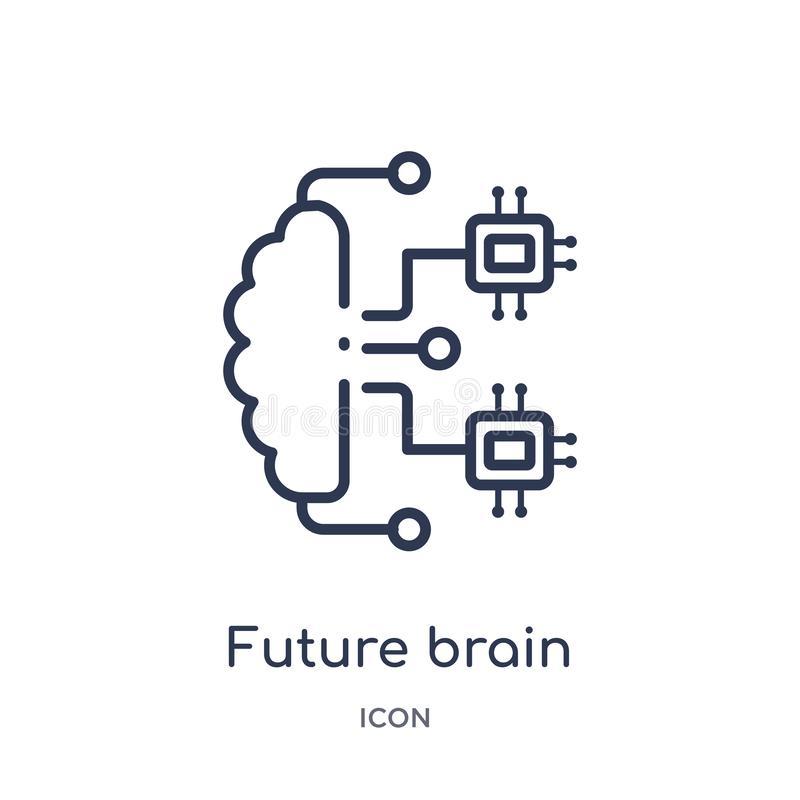 Linear future brain icon from Artificial intellegence and future technology outline collection. Thin line future brain vector vector illustration