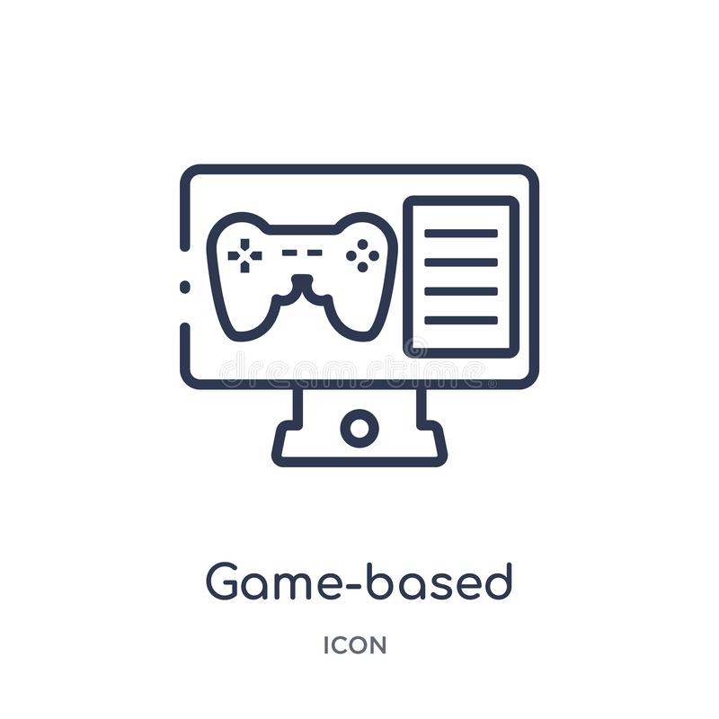 Linear game-based learning icon from Elearning and education outline collection. Thin line game-based learning vector isolated on stock illustration