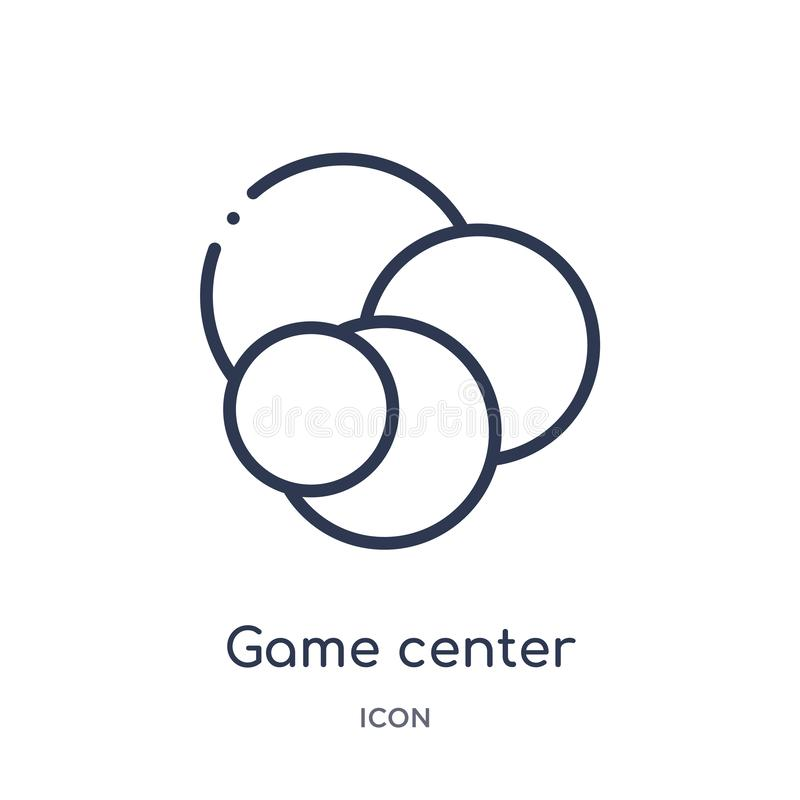 Linear game center icon from Entertainment and arcade outline collection. Thin line game center vector isolated on white stock illustration