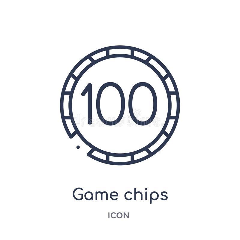 Linear game chips icon from Entertainment outline collection. Thin line game chips icon isolated on white background. game chips royalty free illustration