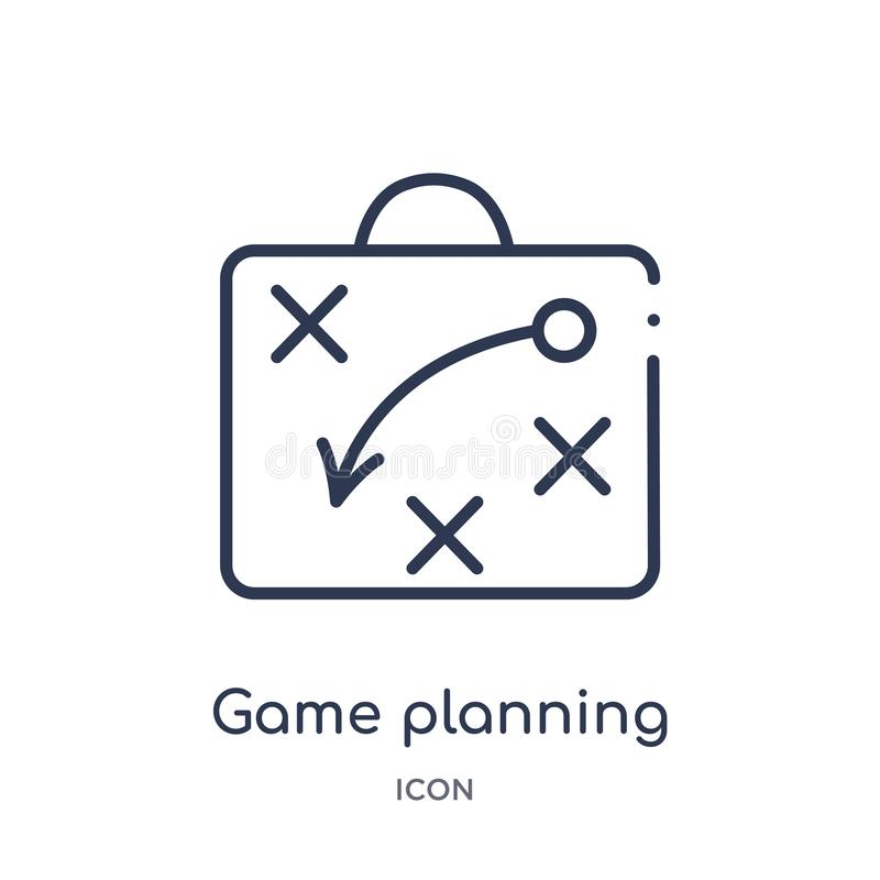 Linear game planning icon from American football outline collection. Thin line game planning vector isolated on white background. vector illustration