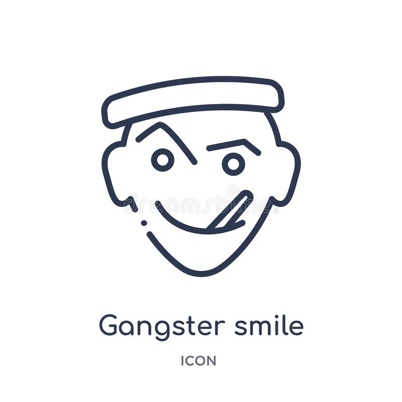 Linear gangster smile icon from Emoji outline collection. Thin line gangster smile vector isolated on white background. gangster stock illustration