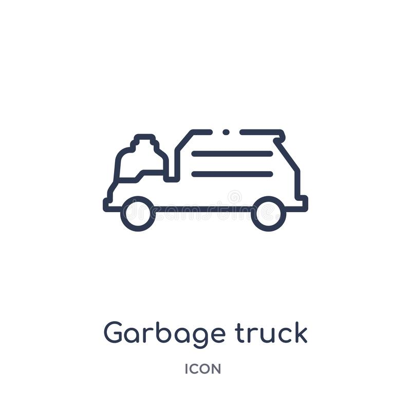 Linear garbage truck cleanin icon from Cleaning outline collection. Thin line garbage truck cleanin vector isolated on white royalty free illustration