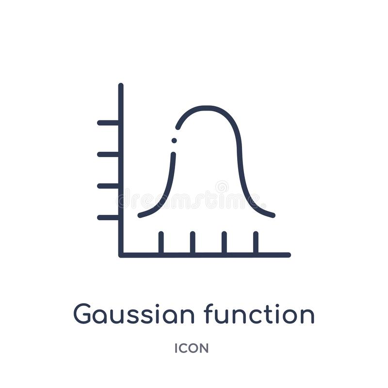 Linear gaussian function icon from Education outline collection. Thin line gaussian function vector isolated on white background. royalty free illustration