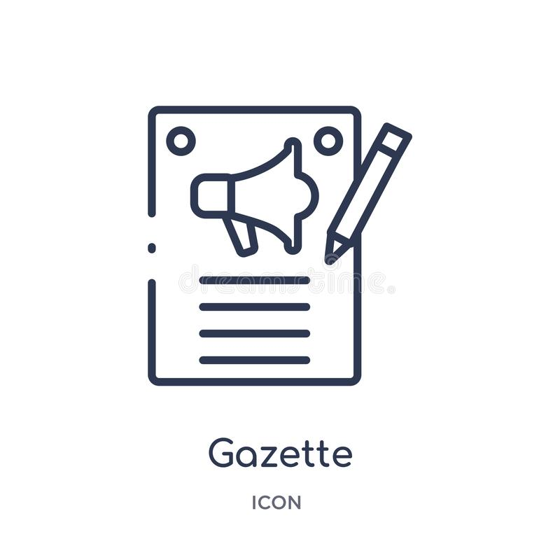 Linear gazette icon from Marketing outline collection. Thin line gazette icon isolated on white background. gazette trendy stock illustration