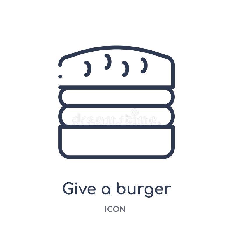 Linear geben Sie eine Burgerikone von der Nahrungsmittelentwurfssammlung Dünne Linie geben eine Burgerikone, die auf weißem Hinte stock abbildung