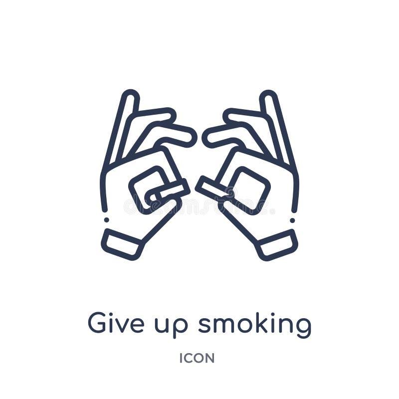 Linear geben Sie oben rauchende Ikone von der Gestenentwurfssammlung Dünne Linie geben die oben rauchende Ikone, die auf weißem H vektor abbildung