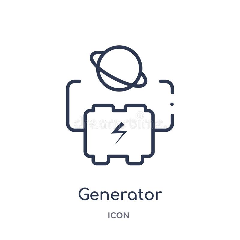 Linear generator icon from Astronomy outline collection. Thin line generator vector isolated on white background. generator trendy royalty free illustration