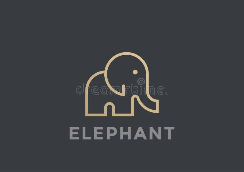 Linear geométrico del diseño del vector del logotipo del elefante Safa libre illustration