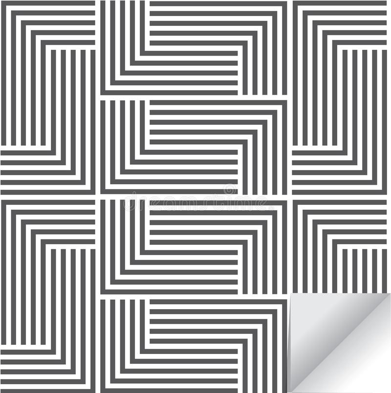 Linear geometric vector pattern, repeating stripe line and mosaic of lined squares . stylish monochrome. stock illustration