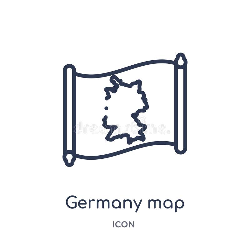 Linear germany map icon from Countrymaps outline collection. Thin line germany map vector isolated on white background. germany stock illustration