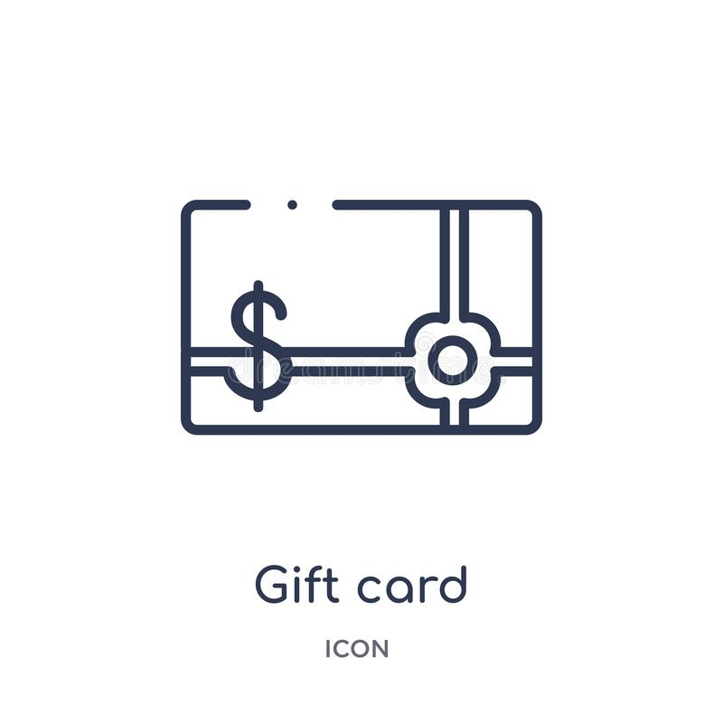 Linear gift card icon from Ecommerce and payment outline collection. Thin line gift card vector isolated on white background. gift vector illustration