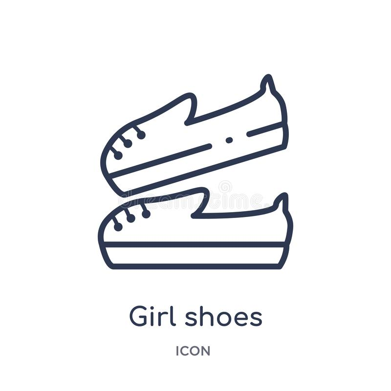 Linear girl shoes icon from Kid and baby outline collection. Thin line girl shoes icon isolated on white background. girl shoes vector illustration