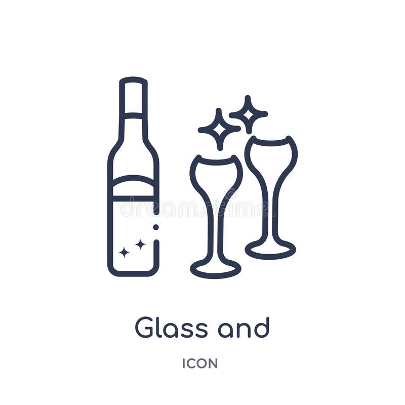 Linear glass and bottle of wine icon from Drinks outline collection. Thin line glass and bottle of wine vector isolated on white stock illustration