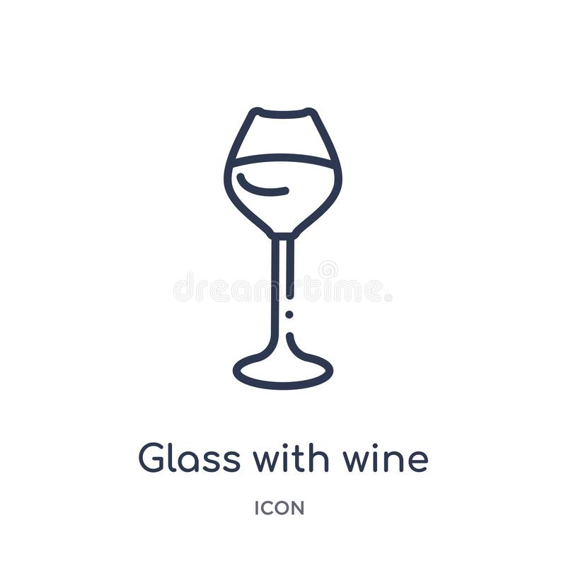 Linear glass with wine icon from Drinks outline collection. Thin line glass with wine vector isolated on white background. glass vector illustration