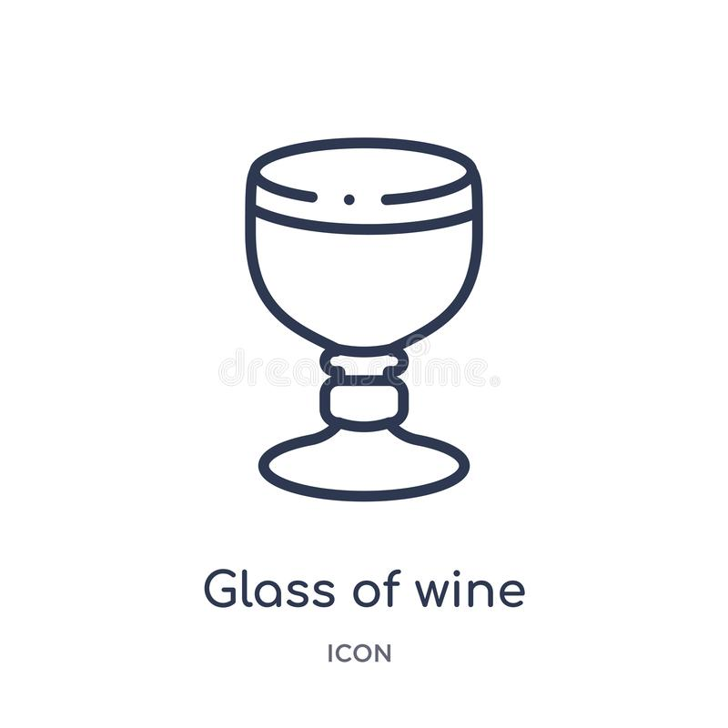 Linear glass of wine icon from Drinks outline collection. Thin line glass of wine vector isolated on white background. glass of vector illustration