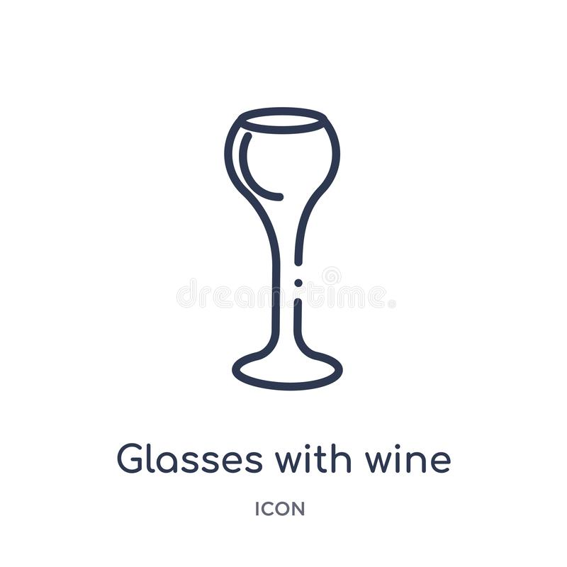 Linear glasses with wine icon from Drinks outline collection. Thin line glasses with wine vector isolated on white background. royalty free illustration