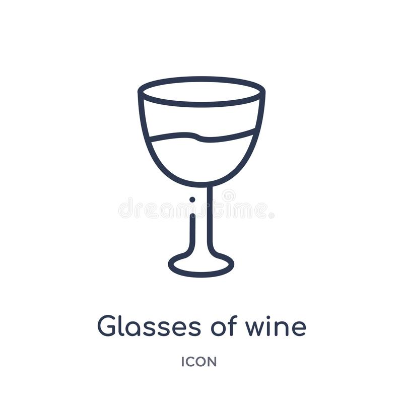 Linear glasses of wine icon from Food outline collection. Thin line glasses of wine icon isolated on white background. glasses of vector illustration