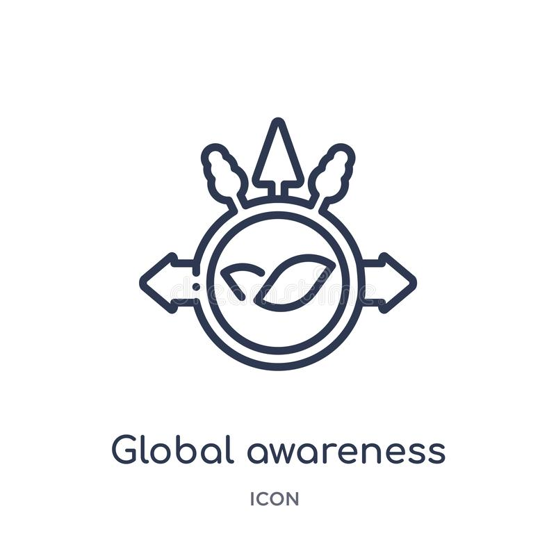 Linear global awareness icon from Ecology outline collection. Thin line global awareness vector isolated on white background. royalty free illustration