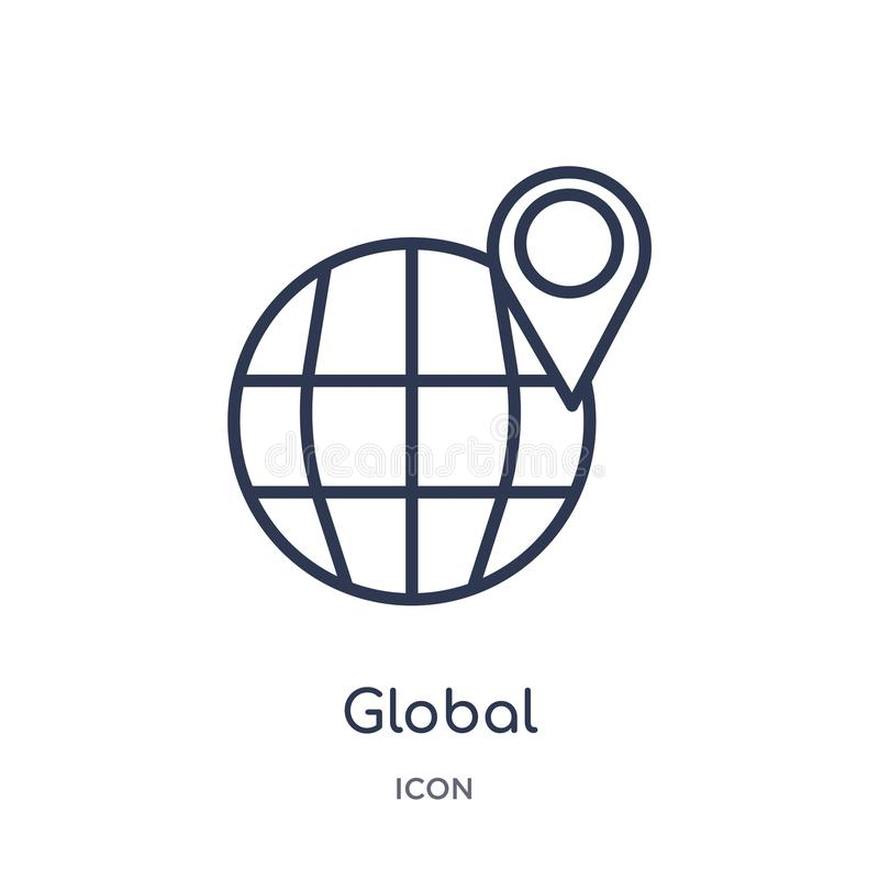 Linear global distribution icon from Delivery and logistic outline collection. Thin line global distribution vector isolated on stock illustration