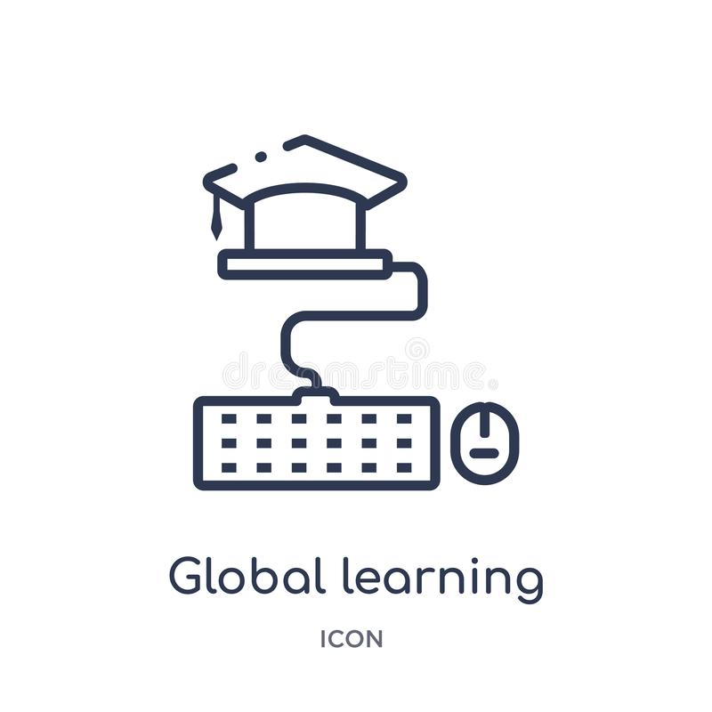 Linear global learning icon from Elearning and education outline collection. Thin line global learning vector isolated on white royalty free illustration