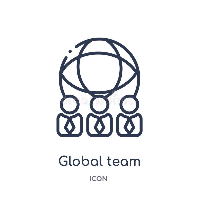 Linear global team icon from General outline collection. Thin line global team icon isolated on white background. global team vector illustration