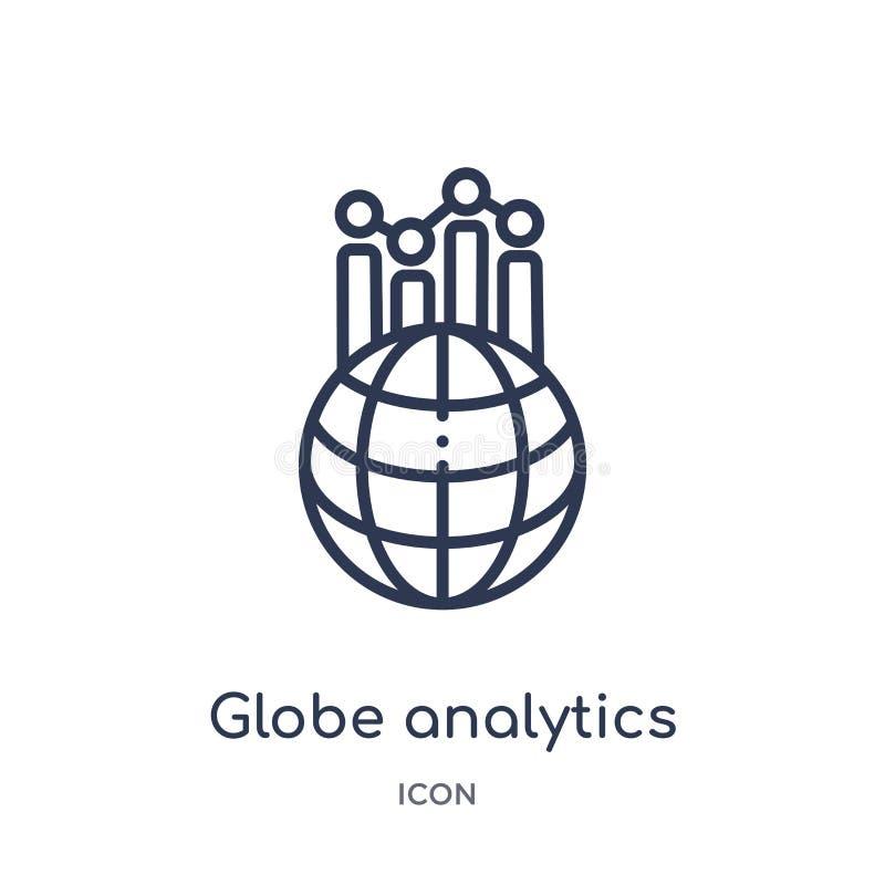 Linear globe analytics icon from Business outline collection. Thin line globe analytics icon isolated on white background. globe stock illustration