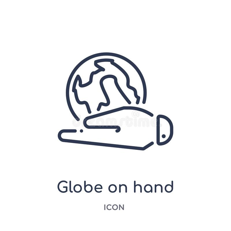 Linear globe on hand icon from Ecology outline collection. Thin line globe on hand vector isolated on white background. globe on royalty free illustration