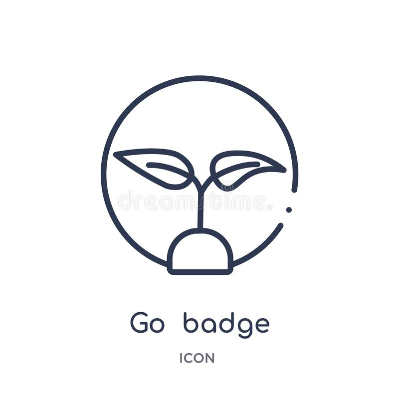 Linear go badge icon from General outline collection. Thin line go badge icon isolated on white background. go badge trendy royalty free illustration