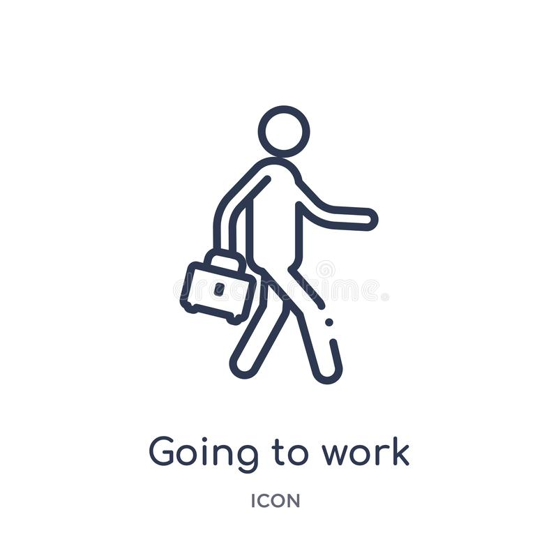 Linear going to work icon from Behavior outline collection. Thin line going to work vector isolated on white background. going to royalty free illustration