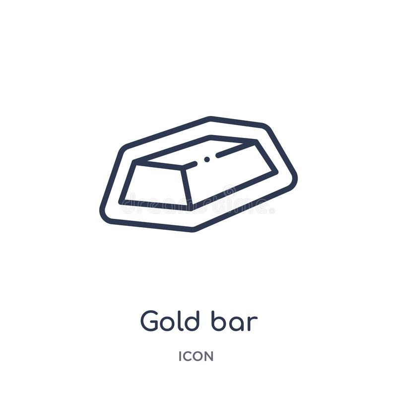 Linear gold bar icon from Luxury outline collection. Thin line gold bar icon isolated on white background. gold bar trendy. Illustration royalty free illustration