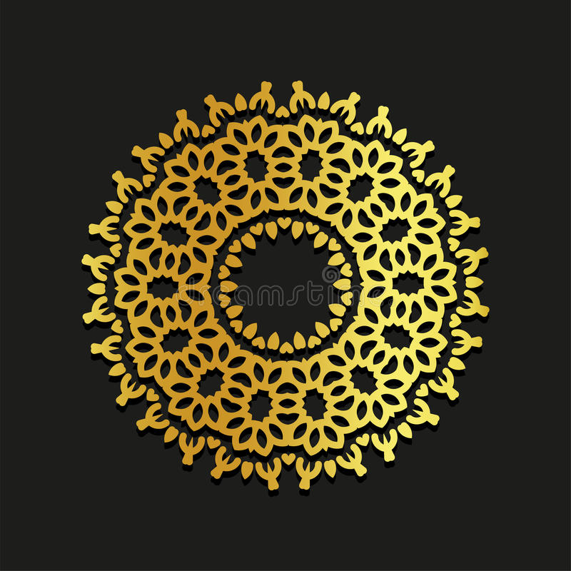 Linear gold vector ornamental mandala illustration. Abstract line art backdrop template logo. Golden beauty decorative vector illustration
