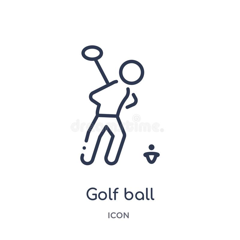 Linear golf ball icon from Activity and hobbies outline collection. Thin line golf ball vector isolated on white background. golf. Ball trendy illustration stock illustration