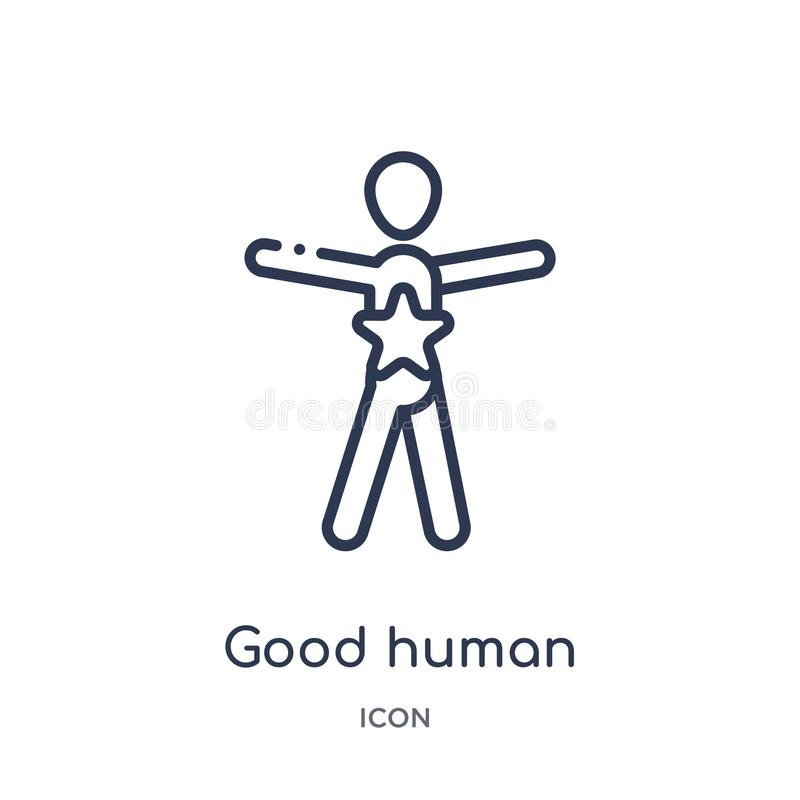 Linear good human icon from Feelings outline collection. Thin line good human vector isolated on white background. good human royalty free illustration