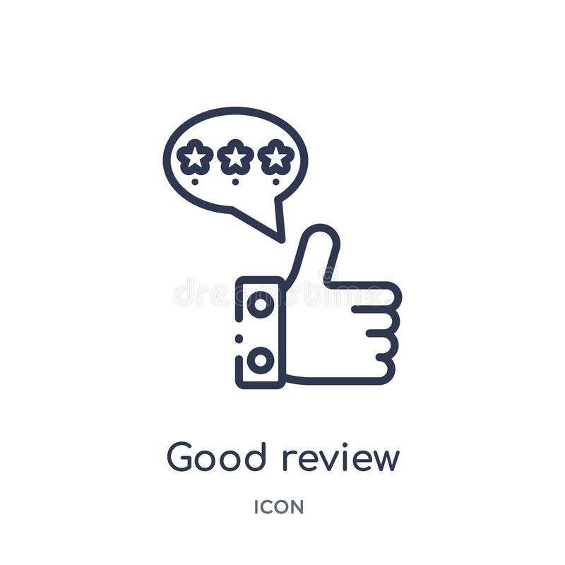 Linear good review icon from Feedback outline collection. Thin line good review vector isolated on white background. good review royalty free illustration
