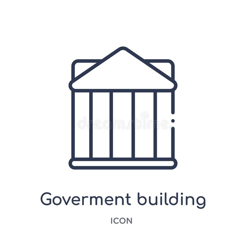 Linear goverment building icon from Buildings outline collection. Thin line goverment building vector isolated on white background vector illustration
