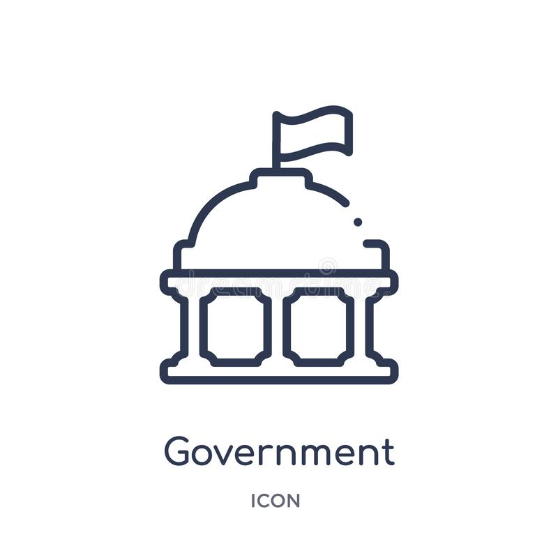 Linear government buildings icon from City elements outline collection. Thin line government buildings vector isolated on white vector illustration
