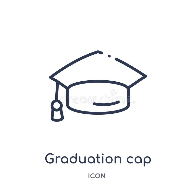 Linear graduation cap icon from Education outline collection. Thin line graduation cap vector isolated on white background. vector illustration