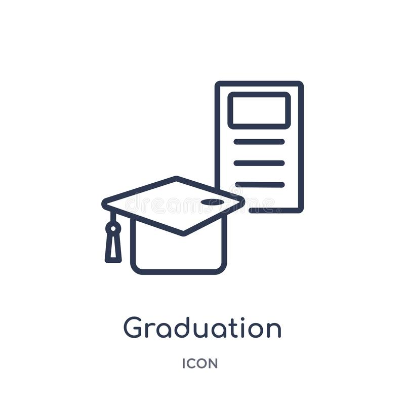 Linear graduation ceremony icon from Business outline collection. Thin line graduation ceremony icon isolated on white background royalty free illustration