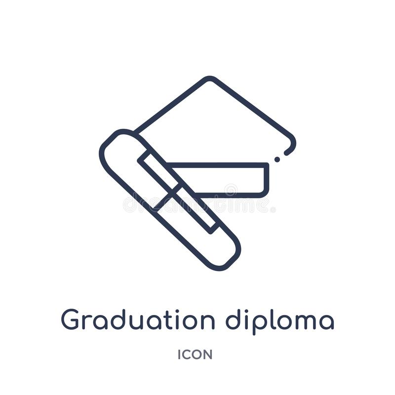 Linear graduation diploma icon from Education outline collection. Thin line graduation diploma icon isolated on white background. vector illustration