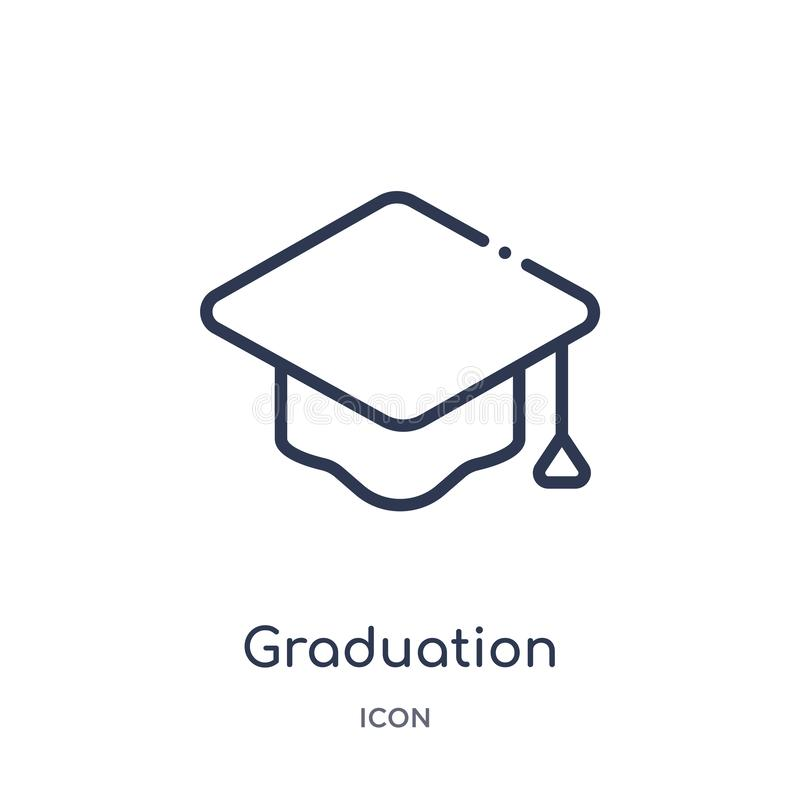 Linear graduation mortarboard icon from Education outline collection. Thin line graduation mortarboard icon isolated on white royalty free illustration