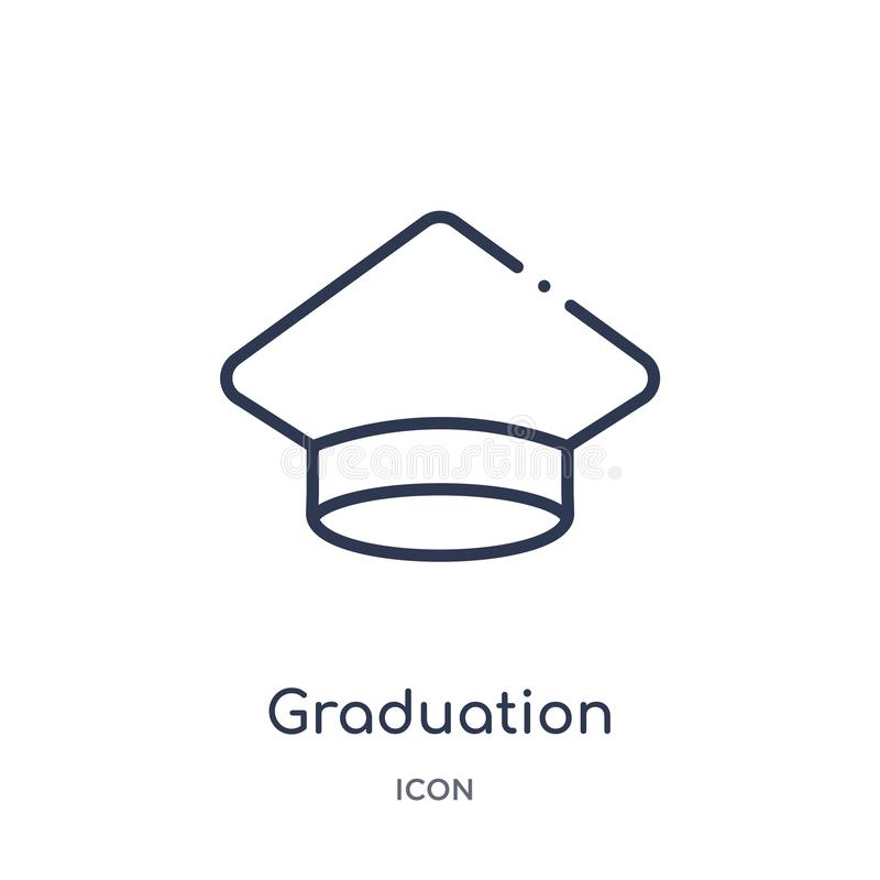 Linear graduation pictures icon from Education outline collection. Thin line graduation pictures vector isolated on white stock illustration