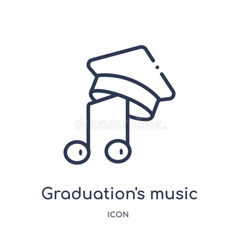 Linear graduation's music icon from Education outline collection. Thin line graduation's music vector isolated on white backgrou royalty free illustration