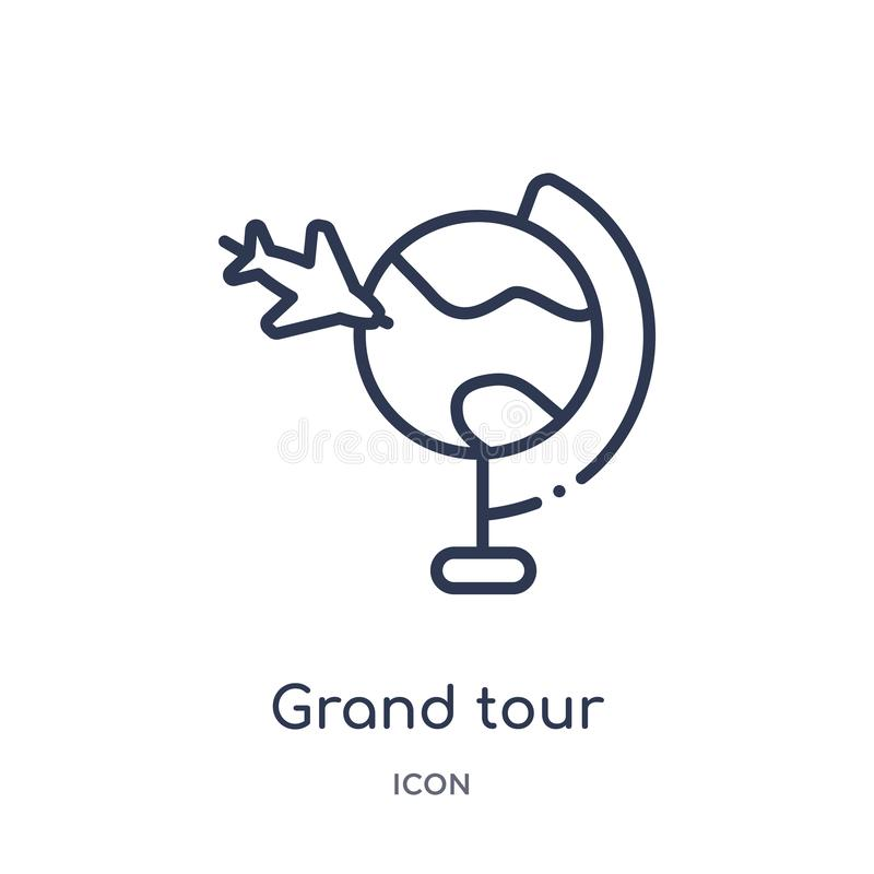 Linear grand tour icon from Architecture and travel outline collection. Thin line grand tour vector isolated on white background. vector illustration