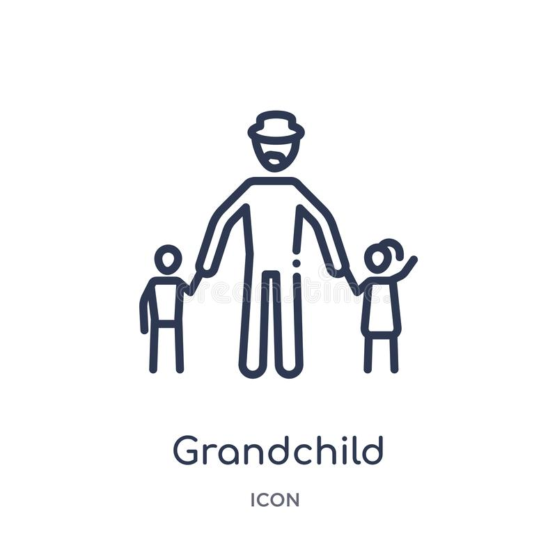 Linear grandchild icon from Family relations outline collection. Thin line grandchild vector isolated on white background. royalty free illustration